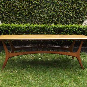 retro 70's coffee table top wooden