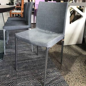 Up-cycle dining chair in grey linen/cotton fabric