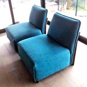 Teal slipper chair