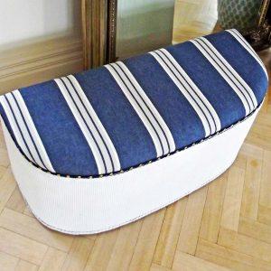 Lloyd Loom Blanket Box navy and white stripes