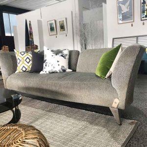 vintage Boston sofa in grey velour fabric