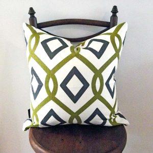 Modern Geometric cushion green, grey and white