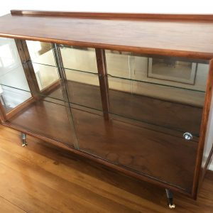 retro sideboard with glass shelves