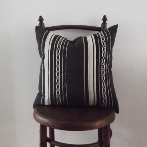 consignment cushion in black and taupe stripes