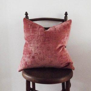 Morris & co vintage velvet cushion in soft red/orange