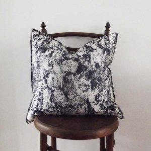 Villa Nova linen cushion in navy and grey