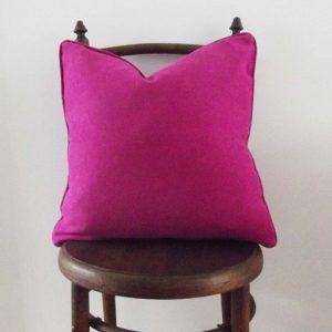 hot pink suede cushion vintage