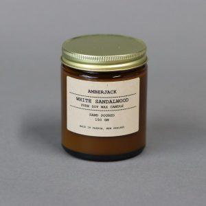NZ made Amber Jack candle Sandalwood scent