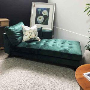 Sarsfield Brooke Green velvet chaise