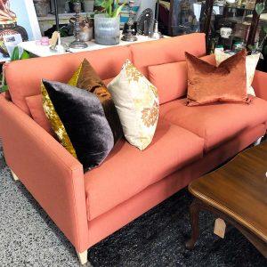 cie 2 seater sofa orange lusk fabric