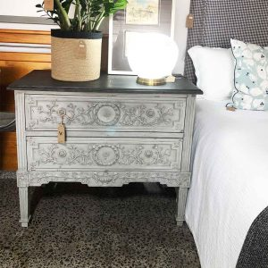 French chest of drawers in soft grey chalk paint