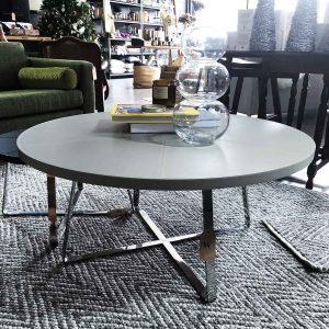 Italian made grey leather coffee table
