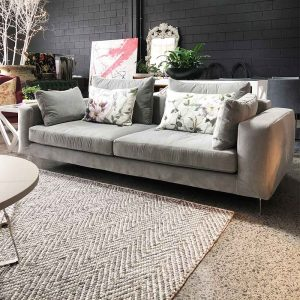 Designer grey velvet sofa