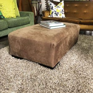 new leather ottoman in soft chocolate