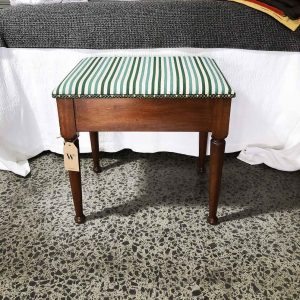 restored piano stool with stripe linen seat