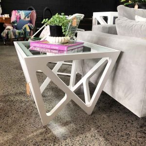 Designer white side table with glass top
