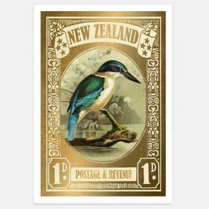 Marika Jones artist Kingfisher stamp print