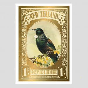 Marika Jones artist Tui gold stamp print