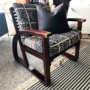 Designer vintage slat back chair