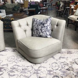 Italian made butterfly chair in grey linen