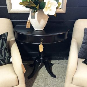 upcycled black half round table