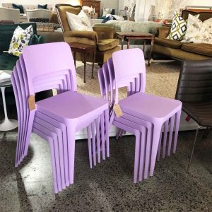 New Italian made lilac polypropylene chairs