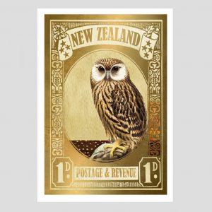 Marika Jones artist owl gold stamp print