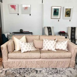NZ made Vintage blush pink sofa