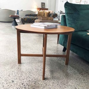restored round wood side table