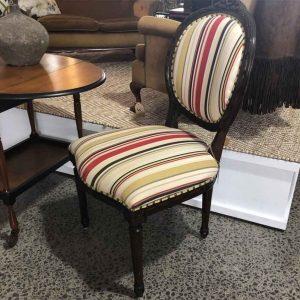 Vintage stripe Louis chair with black frame