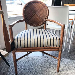Vintage occasional chair with linen stripe seat