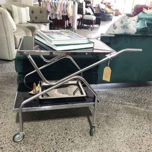 Retro chrome drinks trolley with black glass top