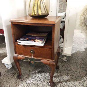 Antique oak bedside table