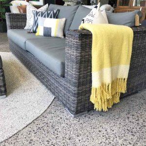 Secondhand outdoor wicker sofa