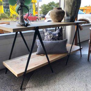 Vintage wood and steel modern shelf unit