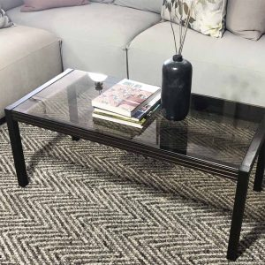 80's style dark wood and glass coffee table