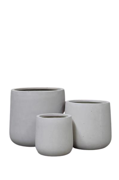 white resin cylinder shape pot