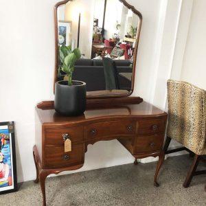 NZ made mahogany dressing table with beveled mirror