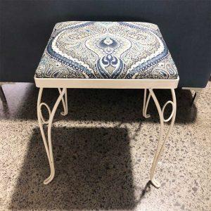 upcycled blue paisley stool