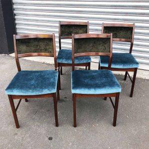 bespoke velvet upcycled dining chairs