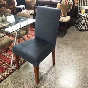 blue high back dining chair
