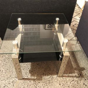 small glass and chrome side table