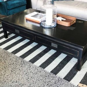 black lacquer two drawer solid wood coffee table