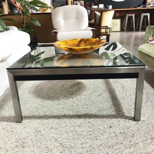 square chrome and glass coffee table