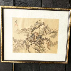 Japanese silk painting with stairway to pavilion