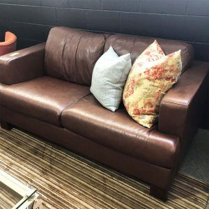 chocolate leather 2 seater sofa NZ made