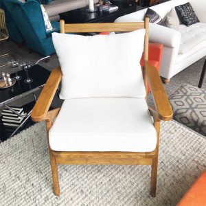 light oak ladder back chair with white cushions