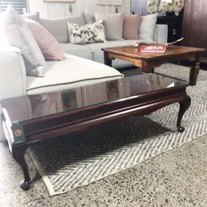 mahogany glass top coffee table