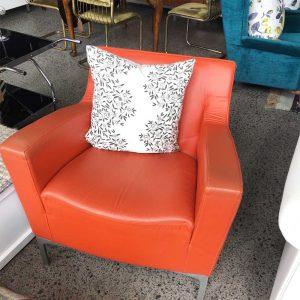 orange leather chair
