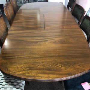 oval extension dining table with cabriole legs